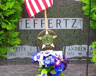 Andrew Effertz and Betty Jane Broome Gravestone - source: Malcolm Paine